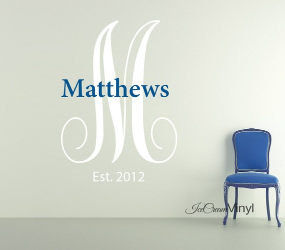 Family Name Monogram Vinyl Wall Decal Initial Name Custom Vinyl Letters for Family Room Home Decal Decor