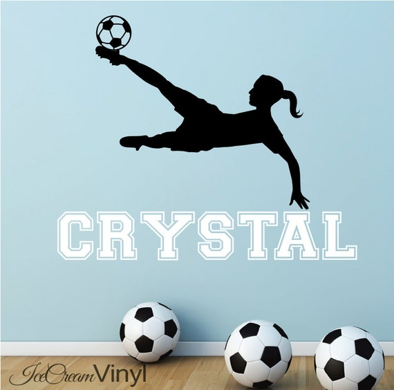 Girl Soccer Wall Decal with Name for Grils Sports Vinyl Wall Decor Childrens Decor Vinyl Lettering Girl's Room
