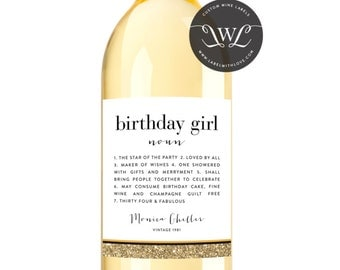 Birthday Wine Label - Custom Wine Label - Personalized Wine Label - Birthday Girl Wine Bottle Label