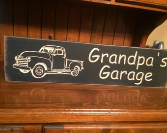 "Custom Carved Wooden Sign - ""Grandpa's Garage ... Old Truck"" - 24""x6"""