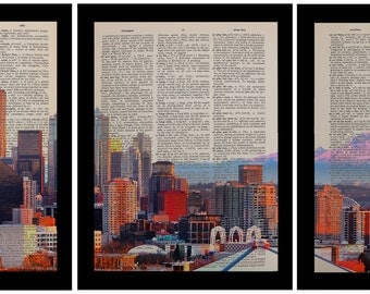 Seattle Panorama Three Set Dictionary Art Print Mt Rainier Space Needle Triptych Wall Art Home Decor Vintage da703