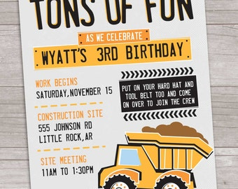 Construction Bash: Tons of Fun Birthday Invitation // Digital, Printable File