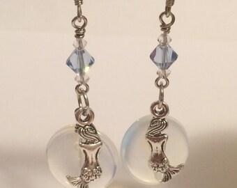 MerMoon Mermaid and  Moonstone Earrings
