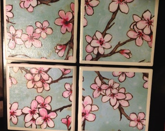 Cherry Blossoms Tile Coasters