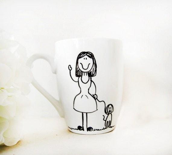 "Mug - Hand painted White Ceramic Mug, ""Girl with her dog"""