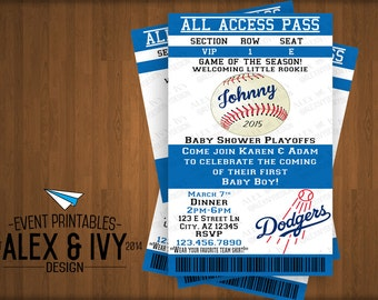 Dodger All-Access Baseball Babyshower Invite - DIY Printable
