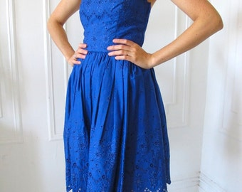 Betsey Johnson Strapless Party Dress - Royal Blue Cotton Eyelet - Size 2
