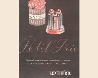 Vogue magazine ad for Petit Trio perfume by Lentheric; Tweed, Confetti, A Bientot, matted - Beauty0289