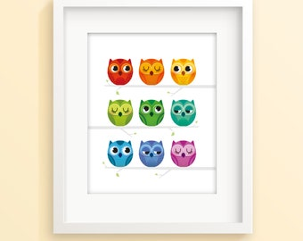 Rainbow owl print, nursery print, nursery decor, children's art, baby room print, baby gift, owl print, new baby gift, owl art, kids decor
