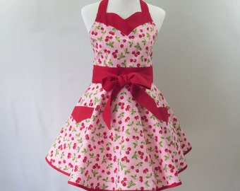 Plus Cherries Retro Apron, Pink & Red Large Sweetheart Neck Apron, Peronalized Apron, Bridal Shower, Birthday, Mothers Day Gift for Her