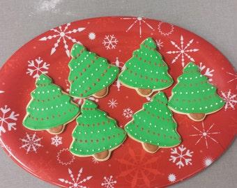 12 Christmas Tree Sugar Cookies - Christmas Party Cookie Favors - Christmas Tree Cookies
