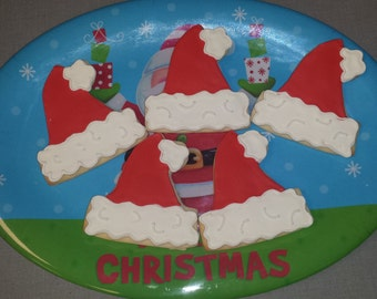 12 Santa Hat Sugar Cookies - Santa Sugar Cookies - Christmas Party Cookie Favors