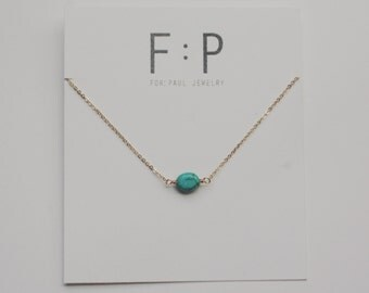 Evie Necklace in Gold with Tiny Turquoise
