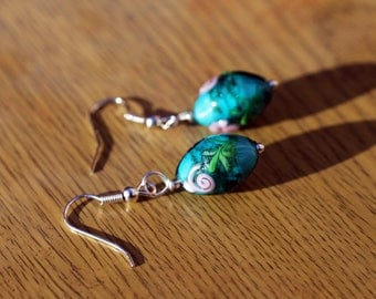 Blue Glass Bead with Rose Earrings