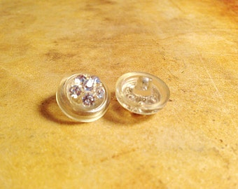 Vintage  Crystal  Plastic  Tiny  Buttons Champagne