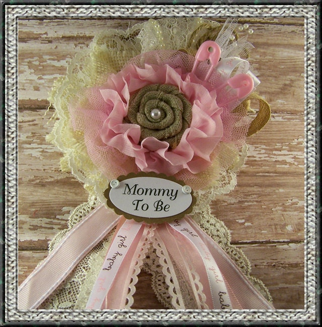 burlap and lace mommy to be corsage baby shower by bloomingparty