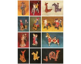 Russian Clay Toy, Set of 12 postcards, Folk Art Museum, USSR Postcard, Soviet Vintage Postcard, 1981, 1980s