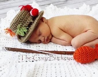 Instant Download Crochet Pattern - Fisherman Hat and Fish Set - Newborn Prop