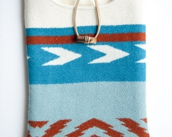 Blue Patterned Wool iPad Mini Cover with Cozy Flannel Lining and Wooden Toggle
