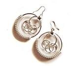 Silver Boho chic Metal  Hoop Dangle Circle and Tassels Statement Earrings - Elegant  Urban Street Style
