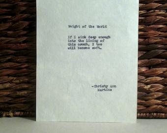 Haiku Short Poems Weight of the World Typed Haiku Vintage Remington Typewriter Hand Typed Quotes
