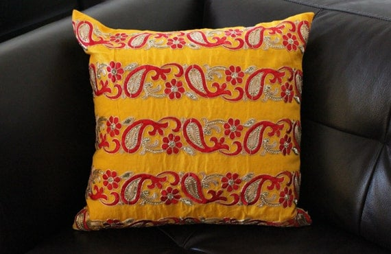 Banarasi Silk Cushion Cover with cotton back and zipper enclosure, 16x16 inches, Decorative Pillow , Bright Yellow decor Pillow, Zari work