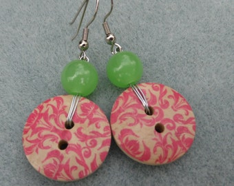 Wooden Button Dangle Earring