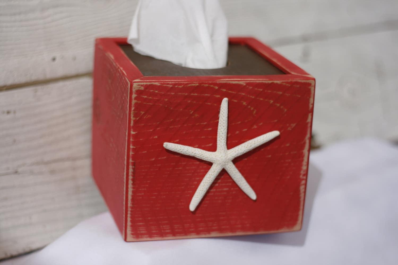 Tissue kleenex box cover starfish coastal beach home decor - Beach themed tissue box cover ...