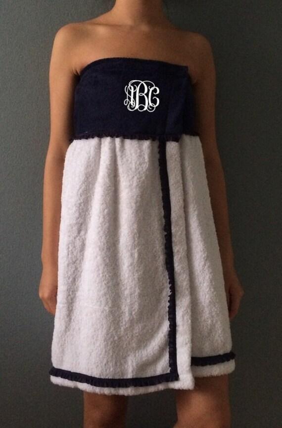 monogrammed towel wrap  spa wrap  bridesmaid by gecesgiftshop