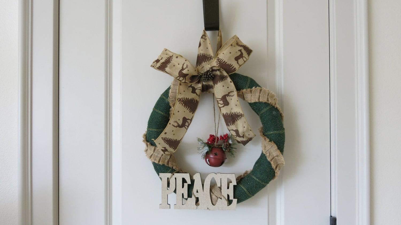 Burlap Christmas Wreath Rustic Christmas Decor Winter Wreath Jingle Bells Peace Wreath Holiday Decor