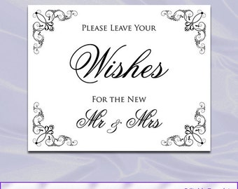 Wedding Wishes Sign - Printable Black and White Signage - Calligraphy Wedding Signs - Instant Download Jpg Pdf No15 P10