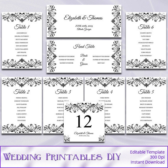 Printable Seating Chart For Wedding Reception: Wedding Seating Chart Template Diy Black And White Reception
