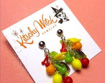 Vintage Style Forbidden Fruit Salad Earrings