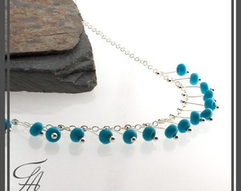 Turquoise Stone Sterling Silver Chain Dot Choker Necklace, Handmade Necklace Dainty Necklace Bridesmaid Jewelry Minimalist Necklace