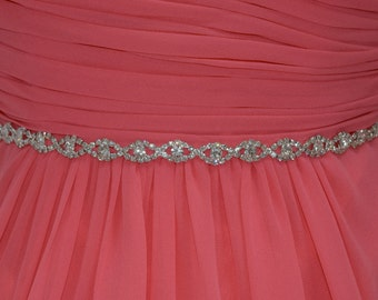 Thin Crystal Rhinestone Belt, Thin Crystal Headband, Single Strand, Bridesmaids Belt, Bridal Sash, Wedding Sash EYM B002