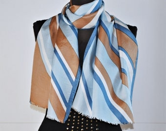Vintage silk long scarf / blue, brown and white / oblong scarf