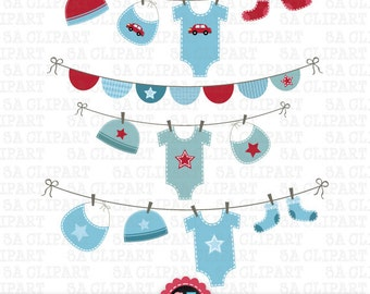 Items similar to Navy and Red Baby Shower Clipart Clip art Laundry ...