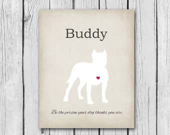 Pit Bull Gift - Pet Memorial Print - 100% Customizable - 8x10, Silhouette - Dog Quotes Mans Best Friend Animal Lover Gift Ideas Puppy Name