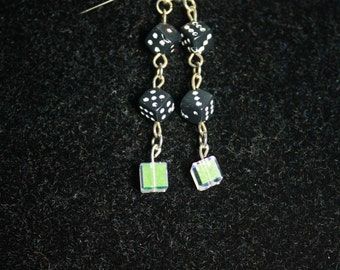 Gamer earrings! Cute dice and cube crystals