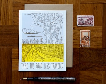 Take the Road Less Traveled, Letterpress Note Card