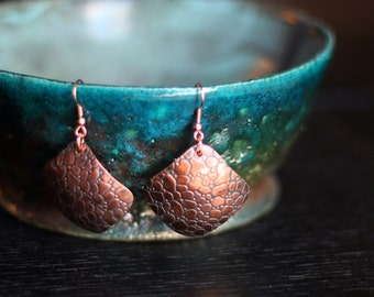 Antique Copper Earrings - Snake Skin - Diamonds