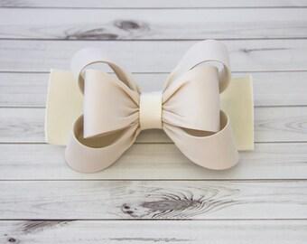 Ivory Hair Clip, Ivory Bow Hair Clip, Bow Hair Clip, Toddler Gold Hair Clip, Girls Bow Hair Clip, Big Bow Hair Clip, 984