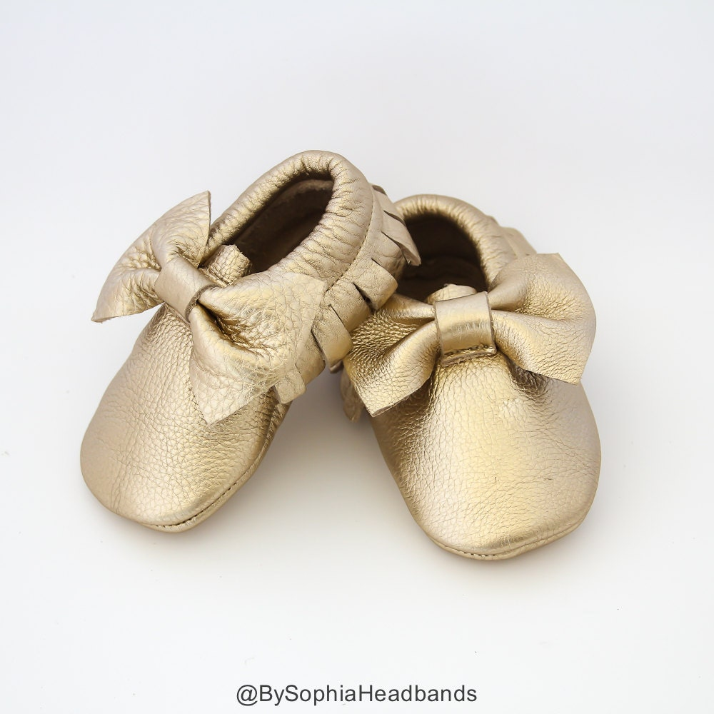 Baby Moccasins Baby Gold Bow Moccasins Baby Leather Shoes