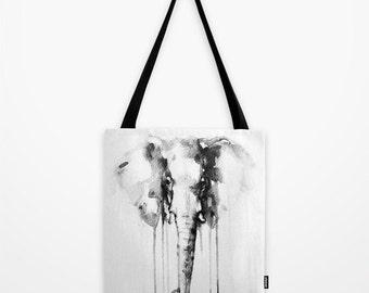 Watercolor Elephant Tote Bag - Tote Bag - Book Bag - Eco-friendly Bag - Shopping Bag - Graphic Tote