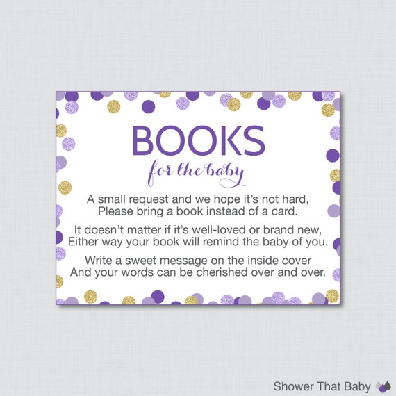 purple and gold baby shower bring a book instead of a card invitation