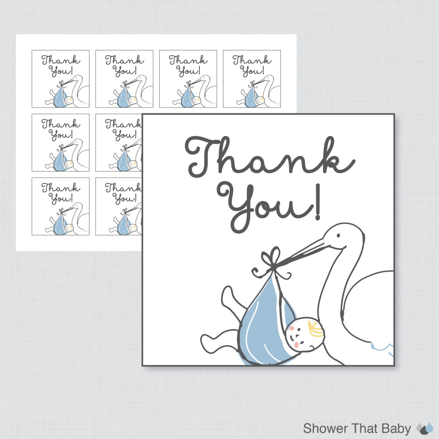 Printable Stork Baby Shower Favor Tag Thank You In Blue And