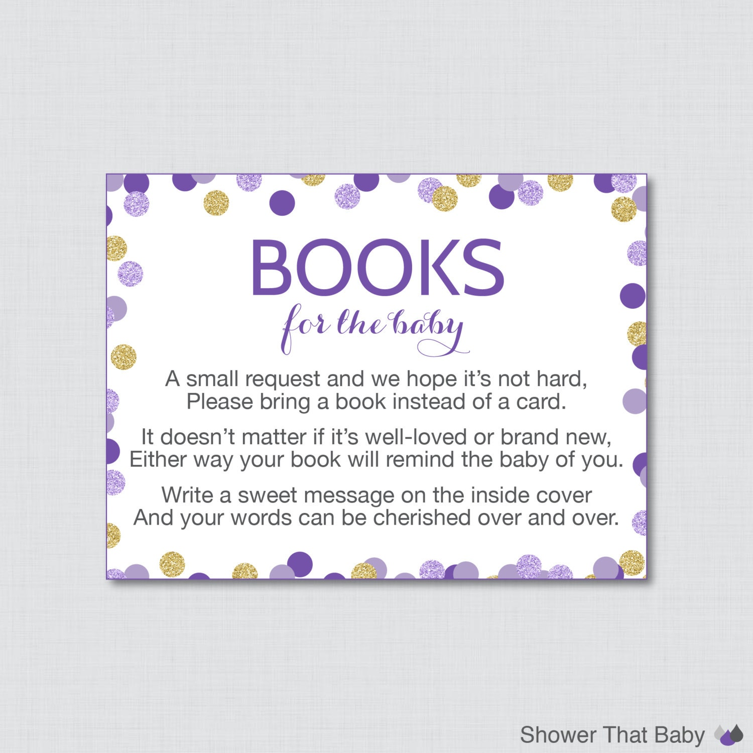 Purple and Gold Baby Shower Bring a Book Instead of a Card