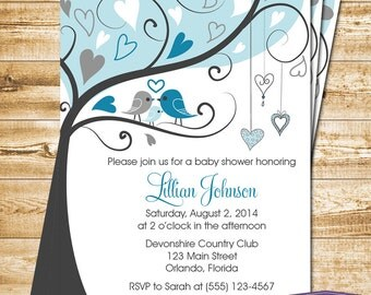 Blue Baby Shower Invitation - Love Birds and Baby Bird Baby Shower Invite - Boy Baby Shower Invite - Bird Family Baby - 1167 PRINTABLE