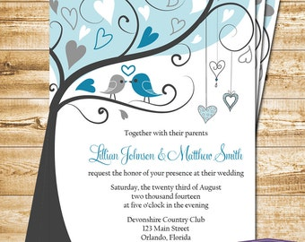 Love Birds Wedding Invitation - Gray and Blue Lovebirds Invite Wedding Invitation - 6059 PRINTABLE