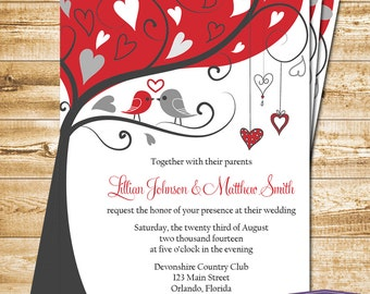 Love Birds Wedding Invitation - Gray and Red Lovebirds Invite Wedding Invitation - 6056 PRINTABLE